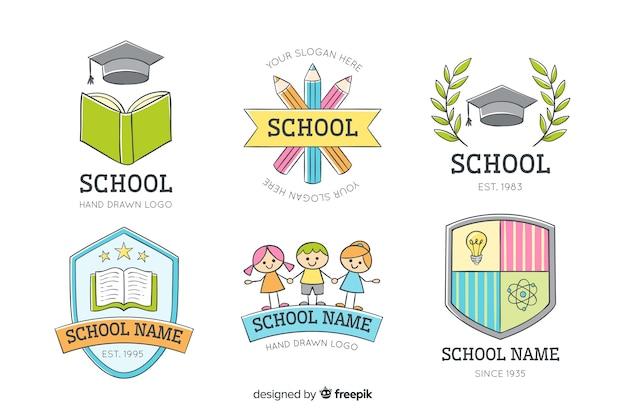 Hand getrokken school logo collectie