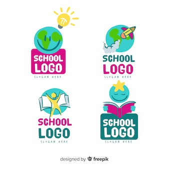 Hand getrokken school logo sjabloon collectie