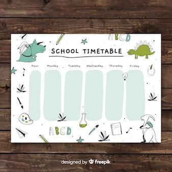 Hand getrokken school tijdschema sjabloon