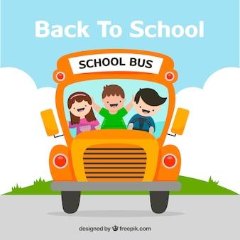 Hand getrokken schoolbus met kinderen