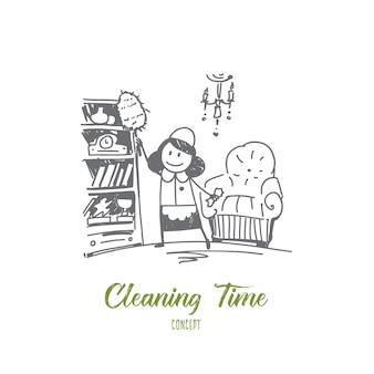Hand getrokken schoonmaak tijd concept schets illustratie