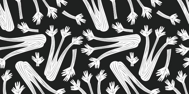 Hand getrokken selderij naadloze patroon. biologische cartoon verse groente illustratie.