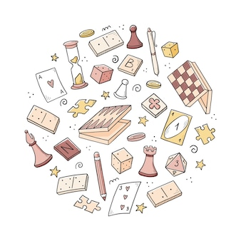 Hand getrokken set bordspelelement, kaarten, schaken, zandloper, chips, dobbelstenen, dominostenen. doodle schets stijl.