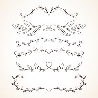 Hand getrokken set decoratieve frames grenzen pagina decoratie-elementen