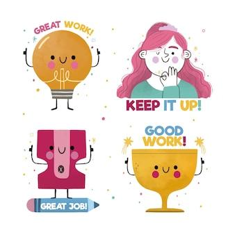 Hand getrokken set geweldige job stickers