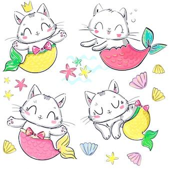 Hand getrokken set kitten zeemeermin en shell. fantasie schattige kat.