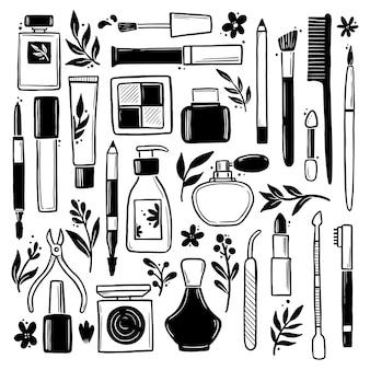 Hand getrokken set make-up schoonheid cosmetische elementen