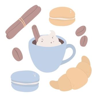Hand getrokken set met een kopje koffie croissant bitterkoekjes kaneelstokjes en koffiebonen
