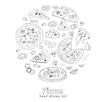 Hand getrokken set met pizza