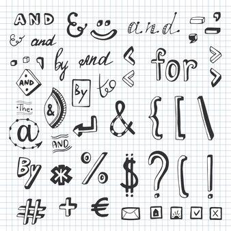Hand getrokken set met sociale media teken en symbool doodles. steekwoorden en, voor, aan, de door. ontwerpelement