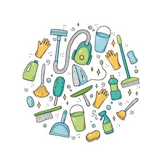 Hand getrokken set reinigingsapparatuur, spons, vacuüm, spray, bezem, emmer. comic doodle schets stijl. schoon element getekend door digitale brush-pen. illustratie voor pictogram, frame, achtergrond.