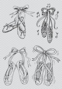 Hand getrokken set schoenen ballet