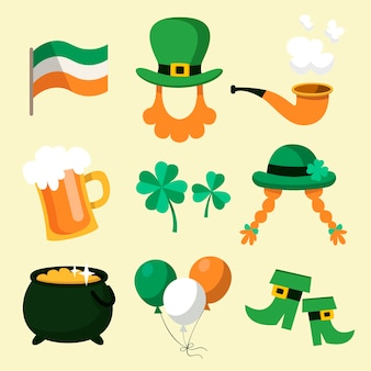 Hand getrokken set st. patrick's day label