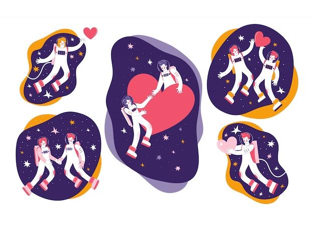 Hand getrokken set stripfiguren astronauten in de ruimte. kosmonauten man en vrouw. verliefde paar vliegt in de ruimte tussen de sterren en harten. kosmische liefde in het heelal. fijne valentijnsdag