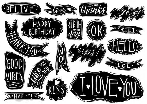 Hand getrokken set tekstballonnen met handgeschreven korte zinnen ja