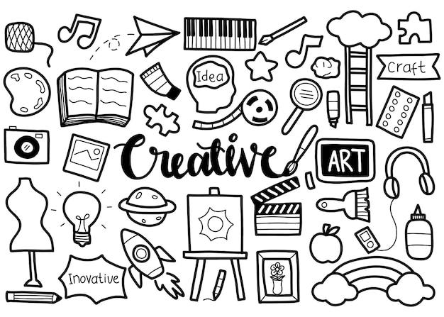 Hand getrokken set van creatief
