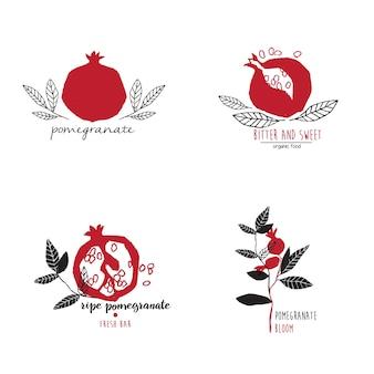 Hand getrokken set van granaatappel logo sjablonen