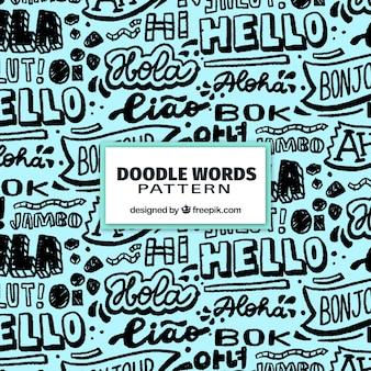 Hand getrokken set van hallo woord patroon in verschillende talen
