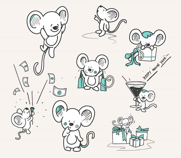 Hand getrokken set van muis