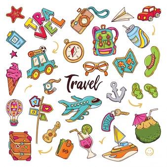 Hand getrokken set van reizen doodles