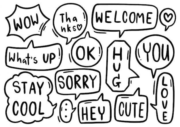 Hand getrokken set van schattige tekstballon met tekst in doodle stijl