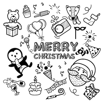 Hand getrokken set vrolijk kerstfeest