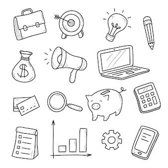 Hand getrokken set zakelijke en financiële elementen, munt, rekenmachine, piggy, geld.