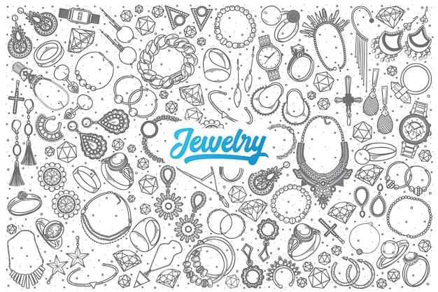 Hand getrokken sieraden doodle set achtergrond met blauwe letters