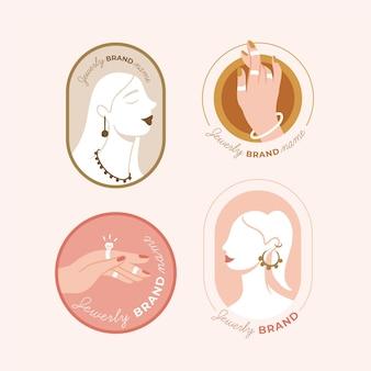 Hand getrokken sieraden logo-collectie Gratis Vector