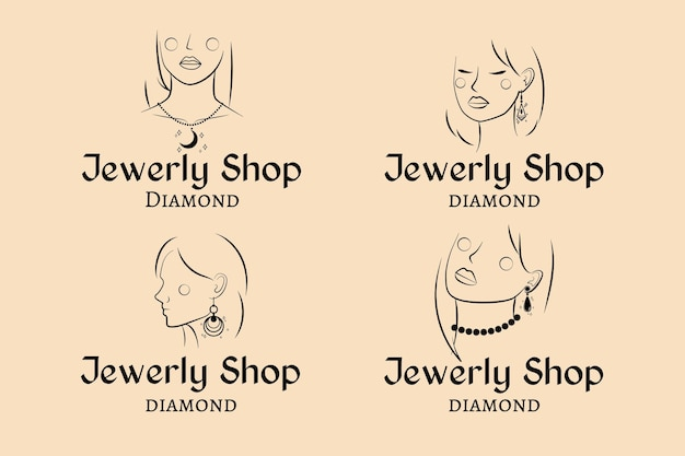 Hand getrokken sieraden logo-collectie