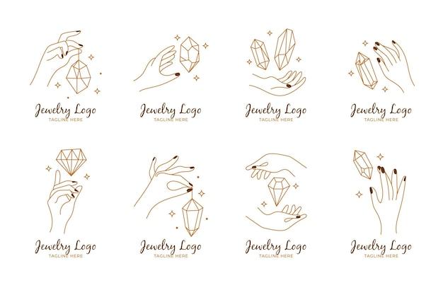 Hand getrokken sieraden logo pack