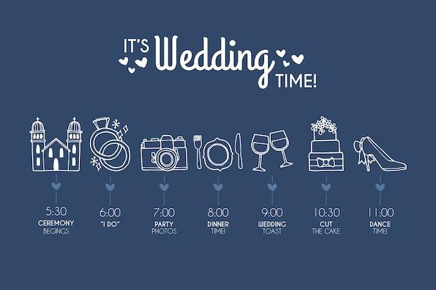 Hand getrokken sjabloon bruiloft tijdlijn