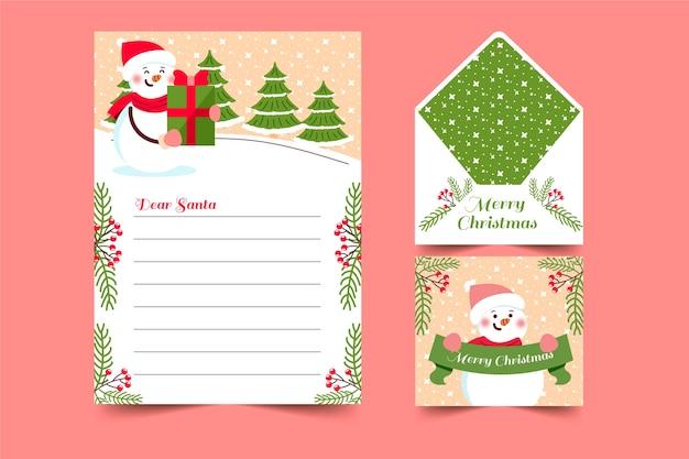 Hand getrokken sjabloon kerst briefpapier