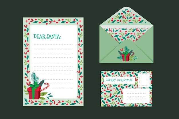 Hand getrokken sjabloon voor kerst briefpapier