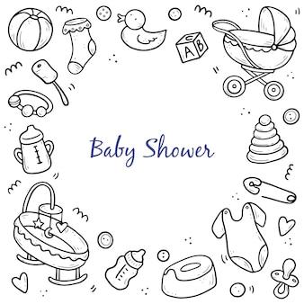 Hand getrokken sjabloon voor spandoek van baby doodle