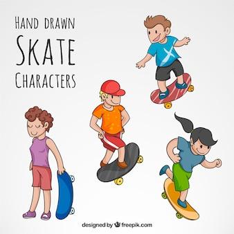 Hand getrokken skate tekens