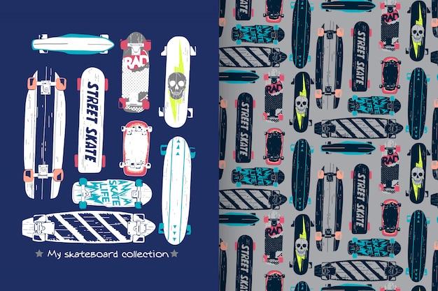 Hand getrokken skateboard met patroon vector set