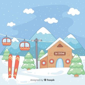 Hand getrokken ski station illustratie