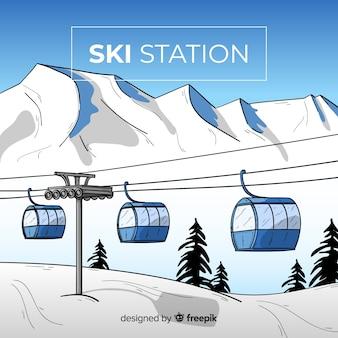 Hand getrokken skistation achtergrond