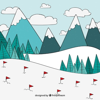 Hand getrokken skistation