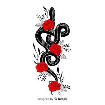 Hand getrokken slang met bloemen illustratie