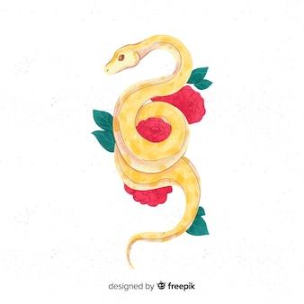 Hand getrokken slang met bloemen