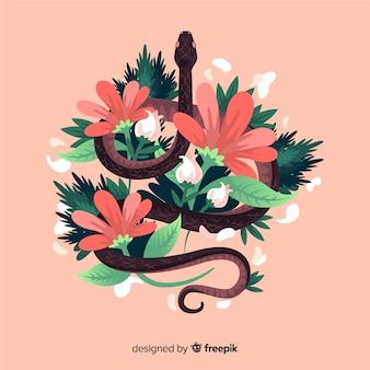 Hand getrokken slang omgeven door bloemen