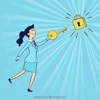 Hand getrokken sleutel bedrijfsconcept