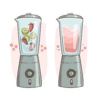 Hand getrokken smoothies in blender glas