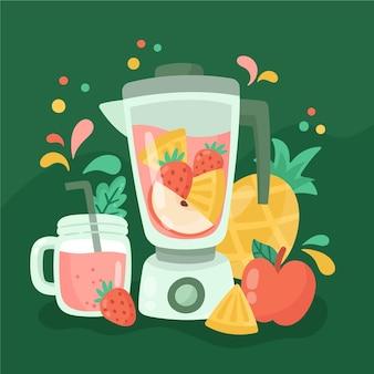 Hand getrokken smoothies in de illustratie van het blenderglas