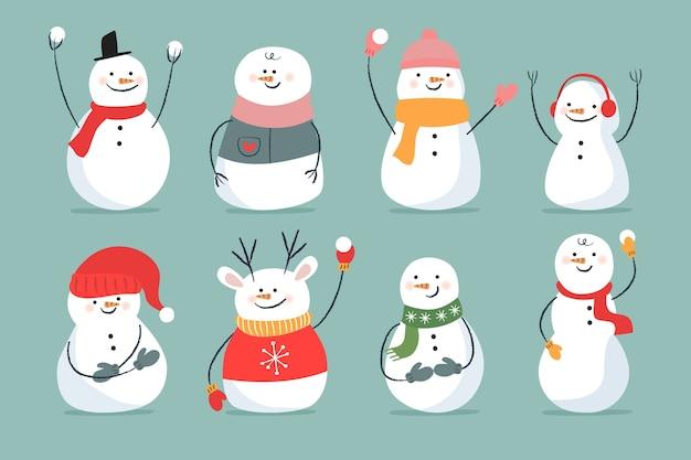 Hand getrokken sneeuwpop collectie karakter