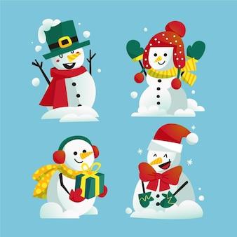 Hand getrokken sneeuwpop karakterverzameling