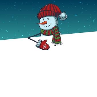 Hand getrokken sneeuwpop met kaart