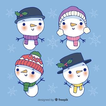 Hand getrokken sneeuwpop tekensverzameling